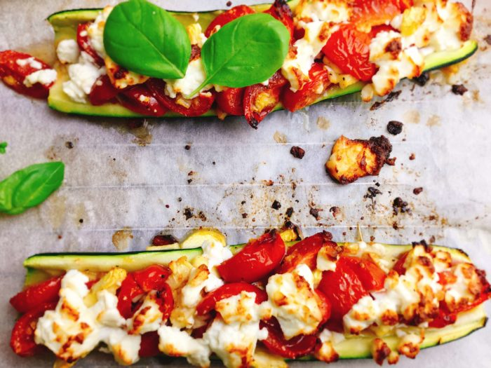 Rezept zu den sehr gesunden Zucchini-Bruschetta-Schiffchen